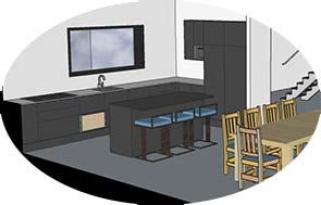 3D visualisointi mustasta keittiöstä saarekkeineen. Saarekkeen ääressä 3 tuolia. Osanäkymä puisesta ruokapöydästä tuoleineen.